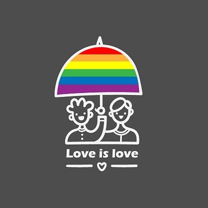 Lgbt doodle emblem. Homosexual cartoon lovers print. Call for tolerance poster.