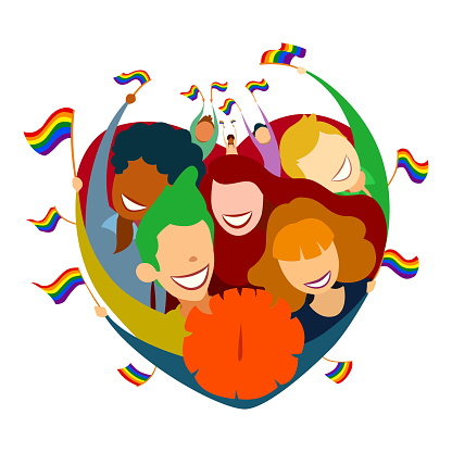 Lgbt Flags In The Hands Of The People