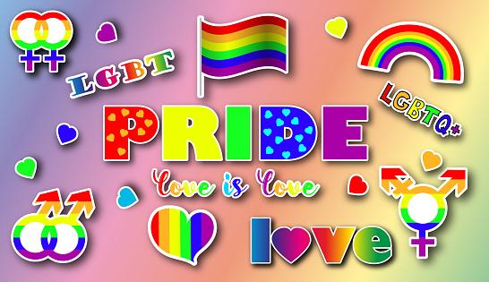Lgbt identity symbols sticker set set in rainbow color