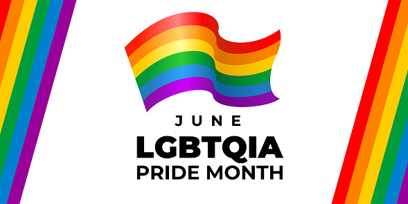 lgbt, lgbtqia pride month. Vector banner, poster for social networks, media. Concept with the LGBT rainbow flag and the text June lgbtqia pride month. Wavy flag logo design.