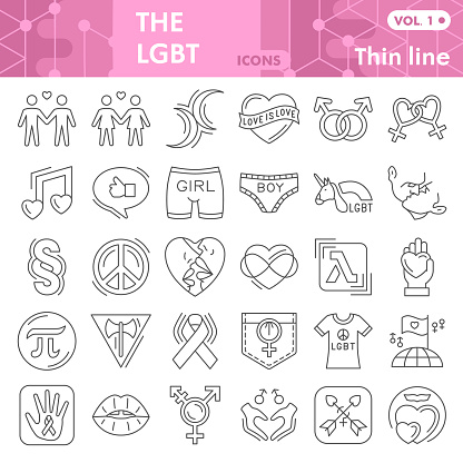 Lgbt thin line icon set, Gender symbols collection or sketches. Free gay and lesbian love signs for web, linear style pictogram package isolated on white background. Vector graphics.
