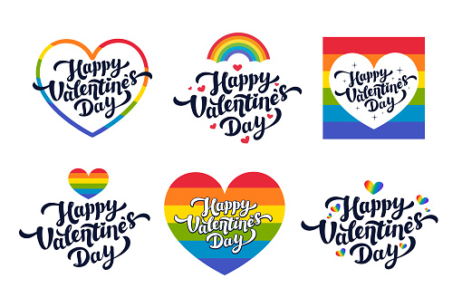 Lgbt Valentine's day greeting cards - set of love day vector cards or stickers for the gay community. Vector illustration