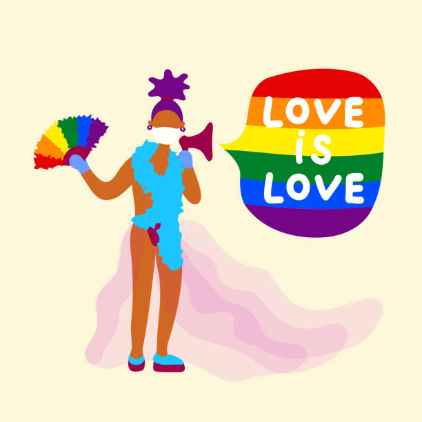 stockillustraties, clipart, cartoons en iconen met lgbtq activist met vlag in medisch masker - drag queen