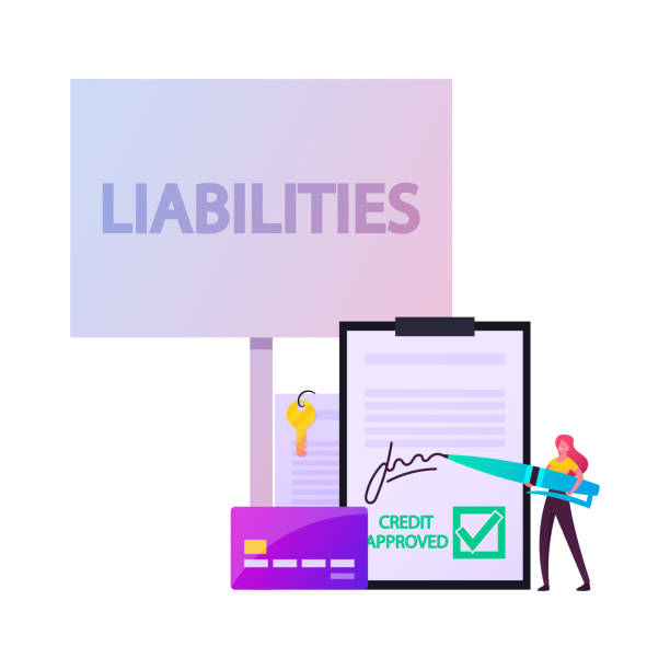 Liabilities Concept. Tiny Female Character Signing Debentures Document Stand at Huge Credit Card and Paper with Key Liabilities Concept. Tiny Female Character Signing Debentures Document Stand at Huge Credit Card and Paper with Key. Unprofitable Property, Loan and Debt, Reducing Finance. Cartoon Vector Illustration debenture stock illustrations