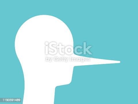 Liar head with long nose. Abstract silhouette on turquoise blue. Deceit, crook, cheater, lie, false and infidelity concept. Flat design. EPS 8 vector illustration, no transparency, no gradients