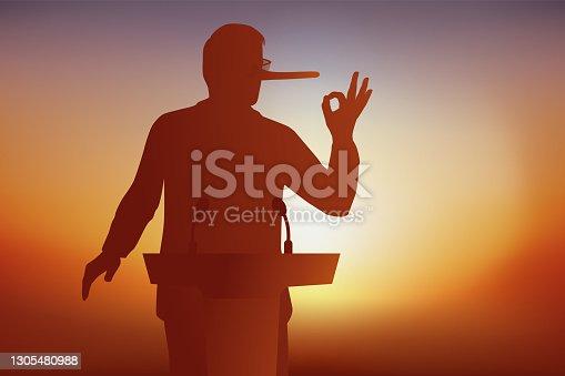 istock A liar's nose lengthens during his speech. 1305480988