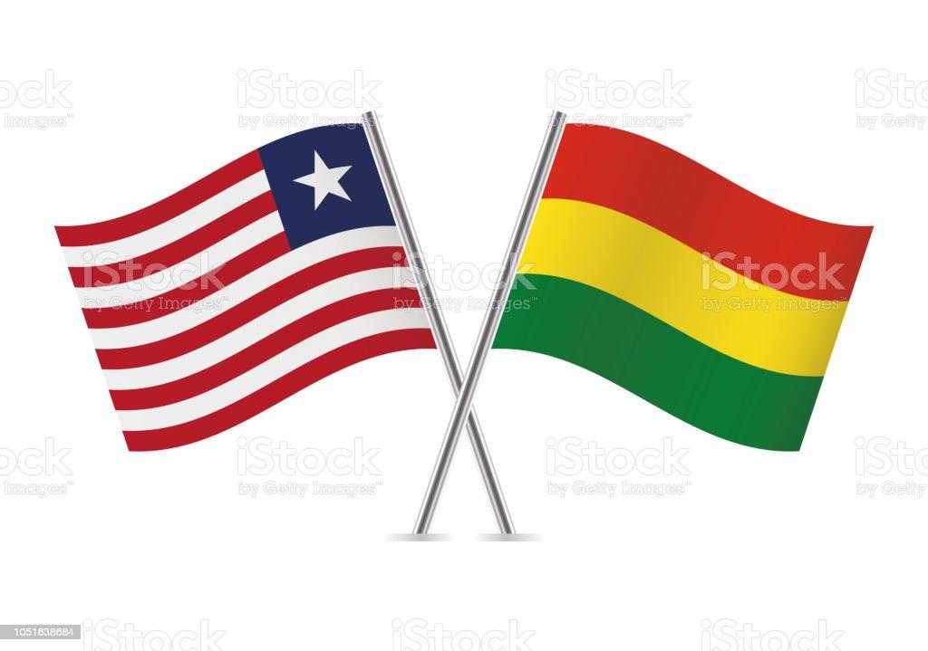 Banderas de Liberia y Bolivia. Ilustración de vector. - ilustración de arte vectorial