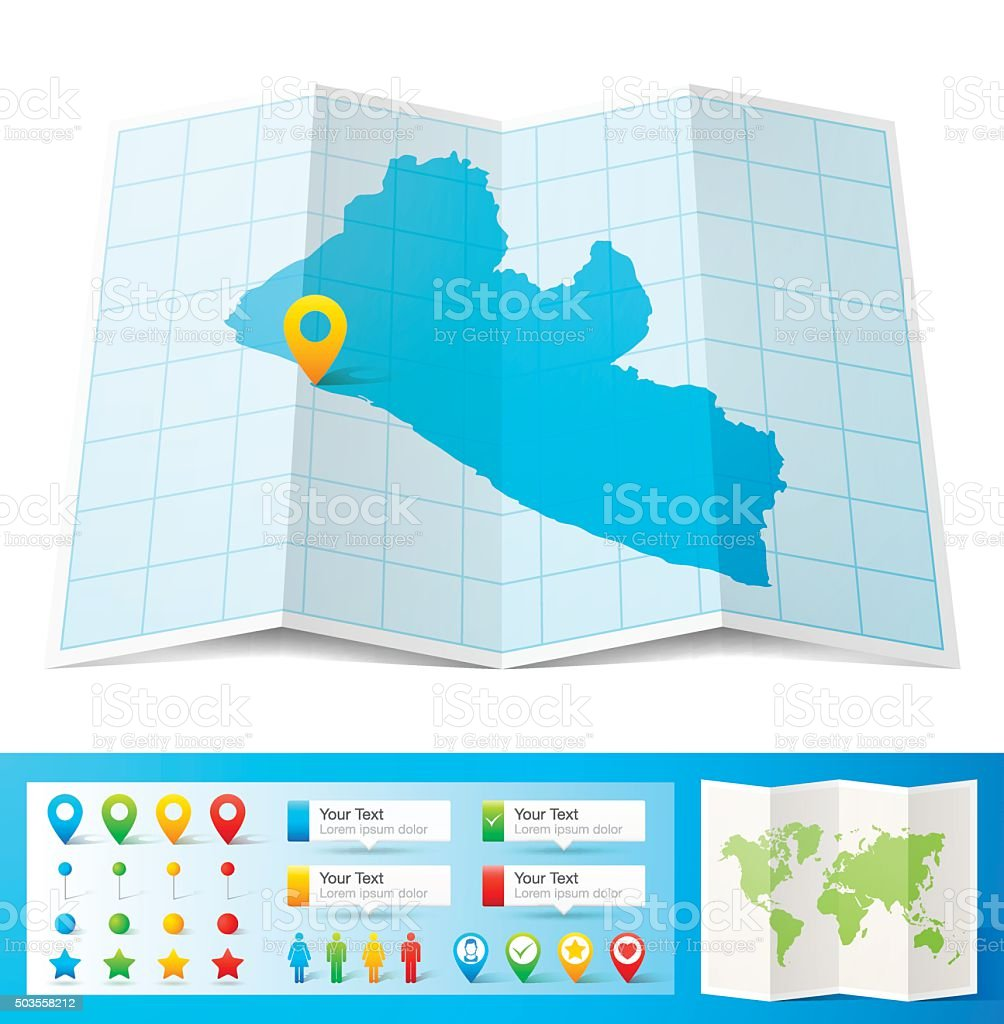 Liberia Map With Location Pins Isolated On White Background ...