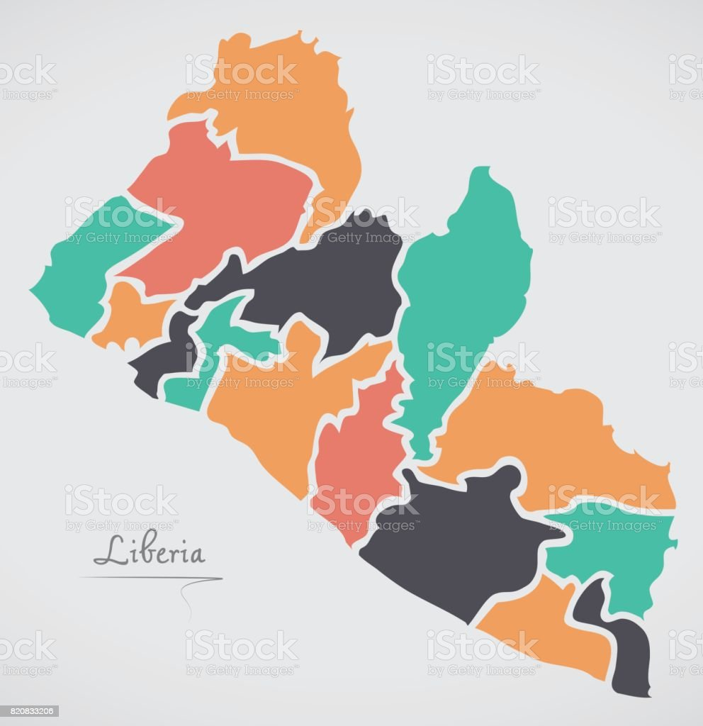 Liberia map with states and modern round shapes stock vector art liberia map with states and modern round shapes royalty free liberia map with states and gumiabroncs Images