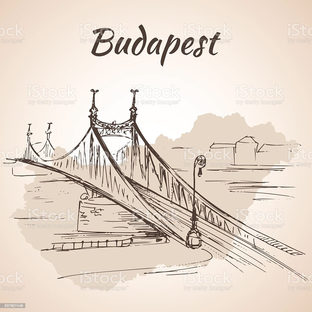 Liberty Bridge in Budapest, Hungary. vector art illustration