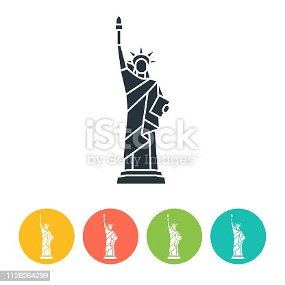 Liberty Statue flat icon - color illustration