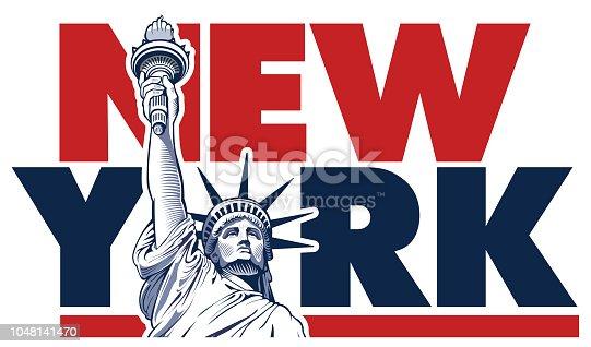 istock Liberty statue, New York, USA symbol  - Illustration 1048141470