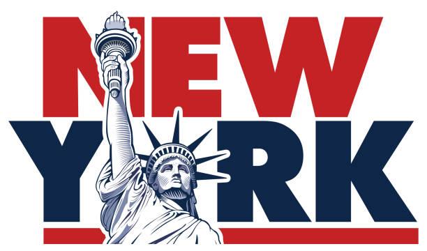 illustrations, cliparts, dessins animés et icônes de statue de la liberté, symbole de new york, usa - illustration - new york