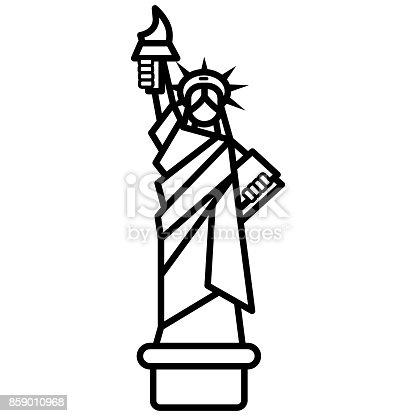 Freiheitsstatue New York Vektor Liniensymbol Zeichen Illustration ...