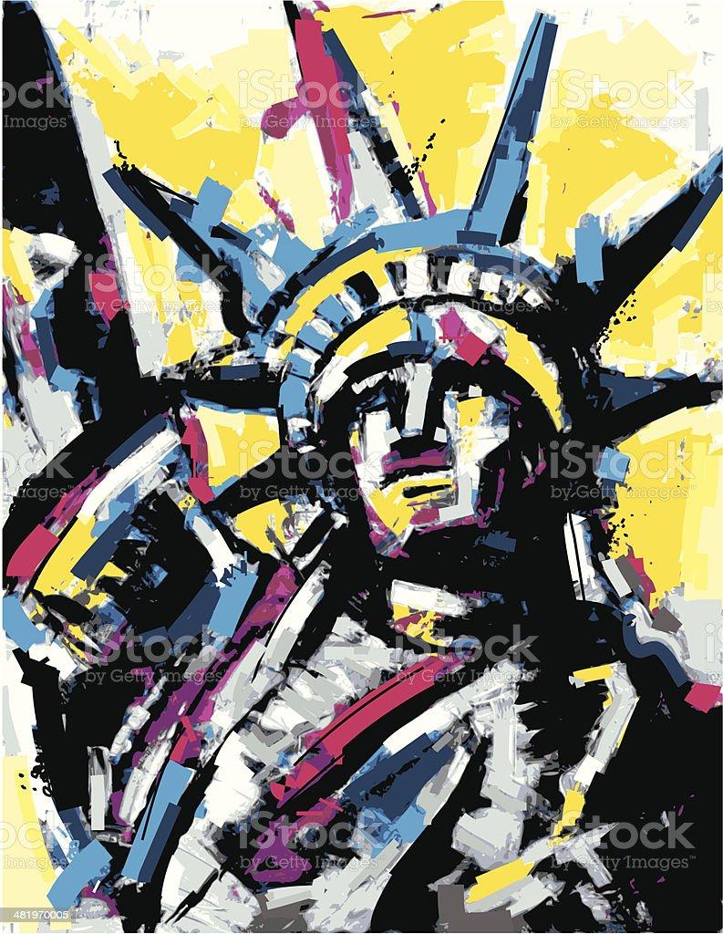 liberty statue painting vector art illustration
