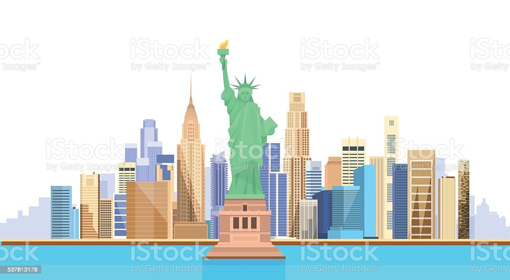 Liberty Statue United States New York City View Stock Vector Art - Free united states vector