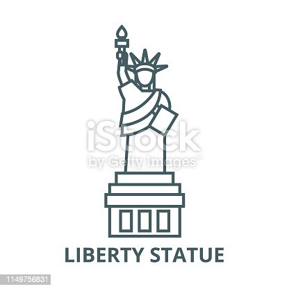 Liberty statue  vector line icon, outline concept, linear sign