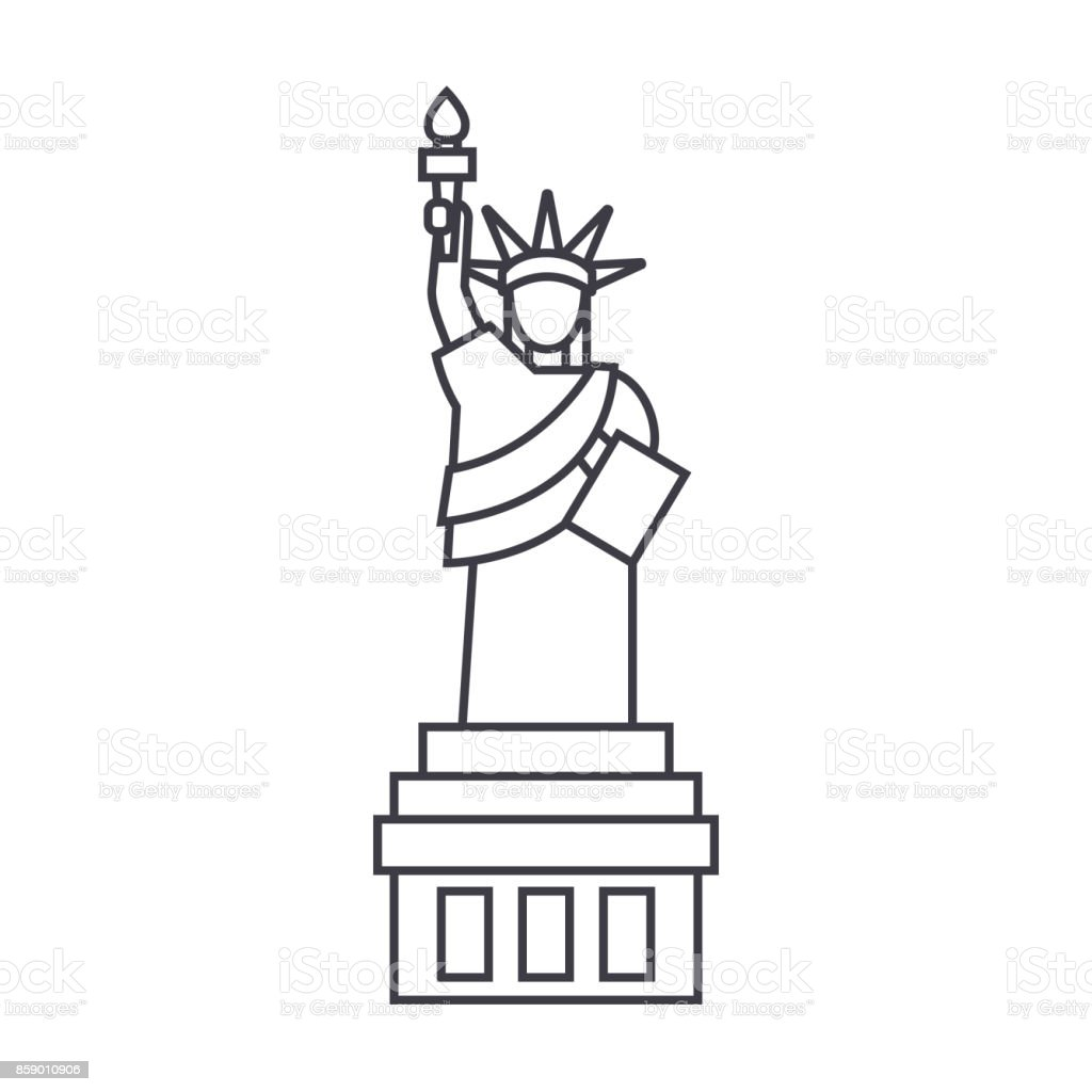 liberty statue  vector line icon, sign, illustration on background, editable strokes vector art illustration