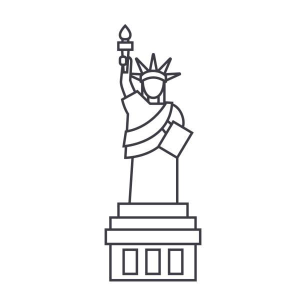 liberty statue  vector line icon, sign, illustration on background, editable strokes vector art illustration
