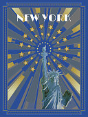 Polygonal statue of liberty front view and colorful shine with gold star element background in art deco style on blue color theme background