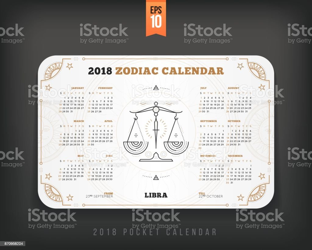 libra 2018 year zodiac calendar pocket size horizontal layout white color design style vector concept illustration