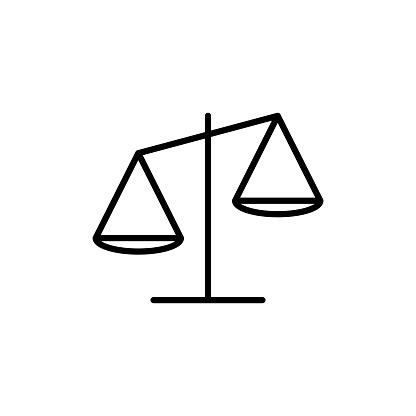 Libra line icon in flat design style. Scales linear vector symbol