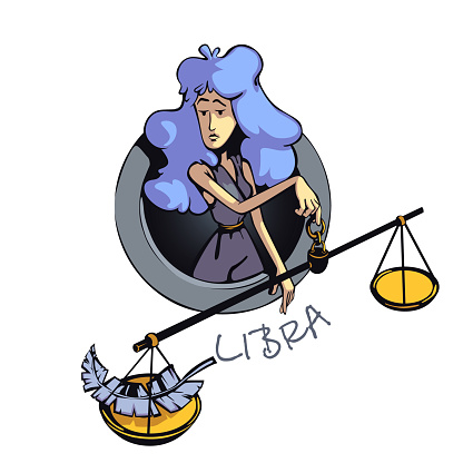 Libra zodiac sign woman flat cartoon vector illustration. Air astrological symbol characteristics, lady with scales. Ready to use 2d character for commercial, printing design. Isolated concept icon