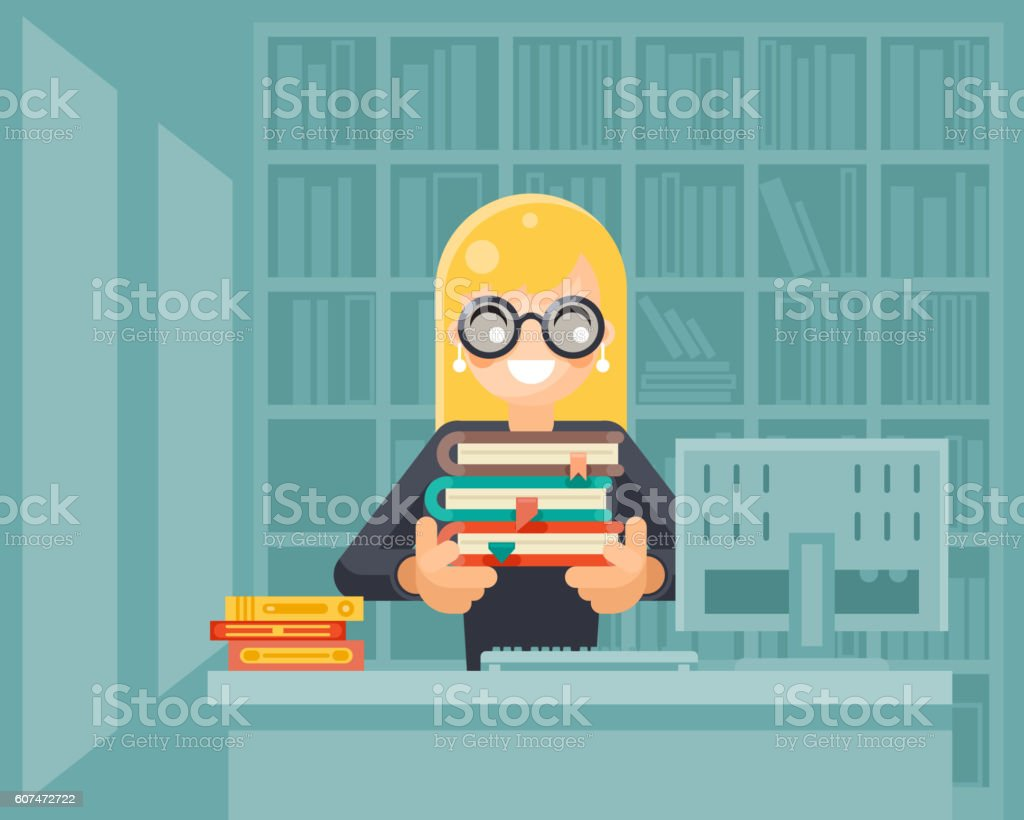 Librarian girl holding book library knowledge education learning flat design - ilustración de arte vectorial