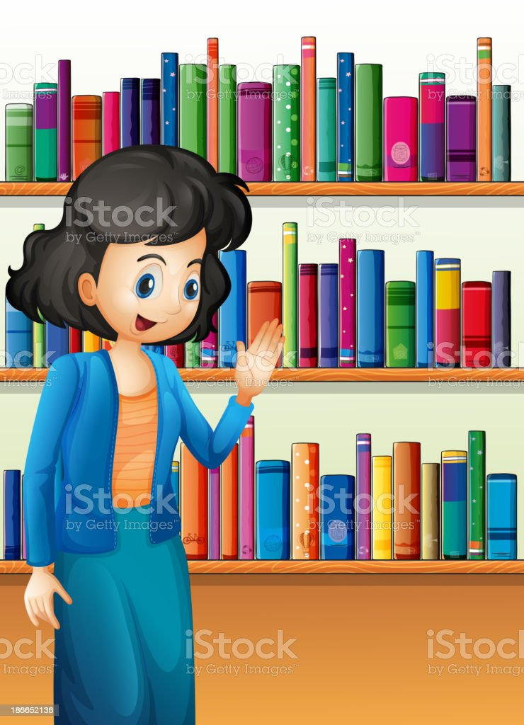 librarian in front of the bookshelves with books royalty-free stock vector art