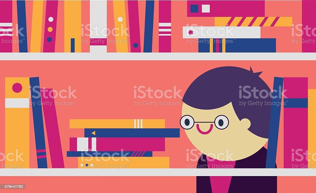 Librarian vector art illustration