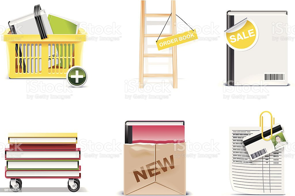 Library and book store icon set royalty-free library and book store icon set stock vector art & more images of basket