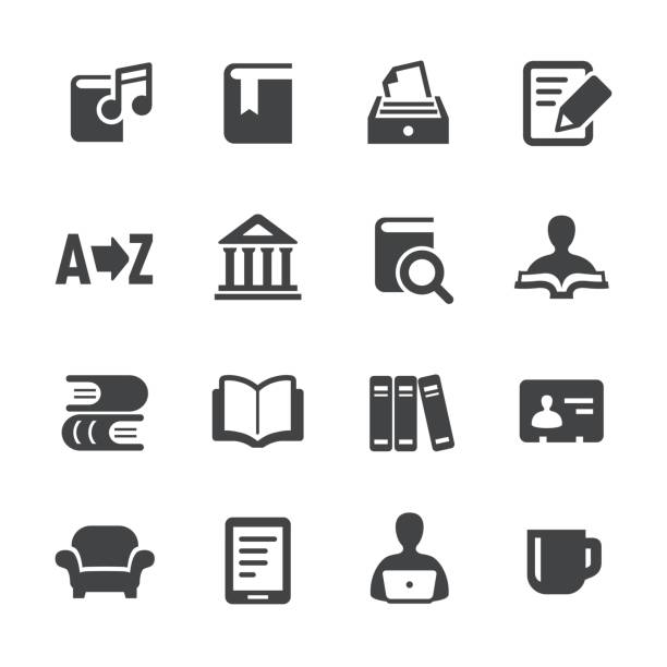 library and books icons - acme series - homework stock illustrations