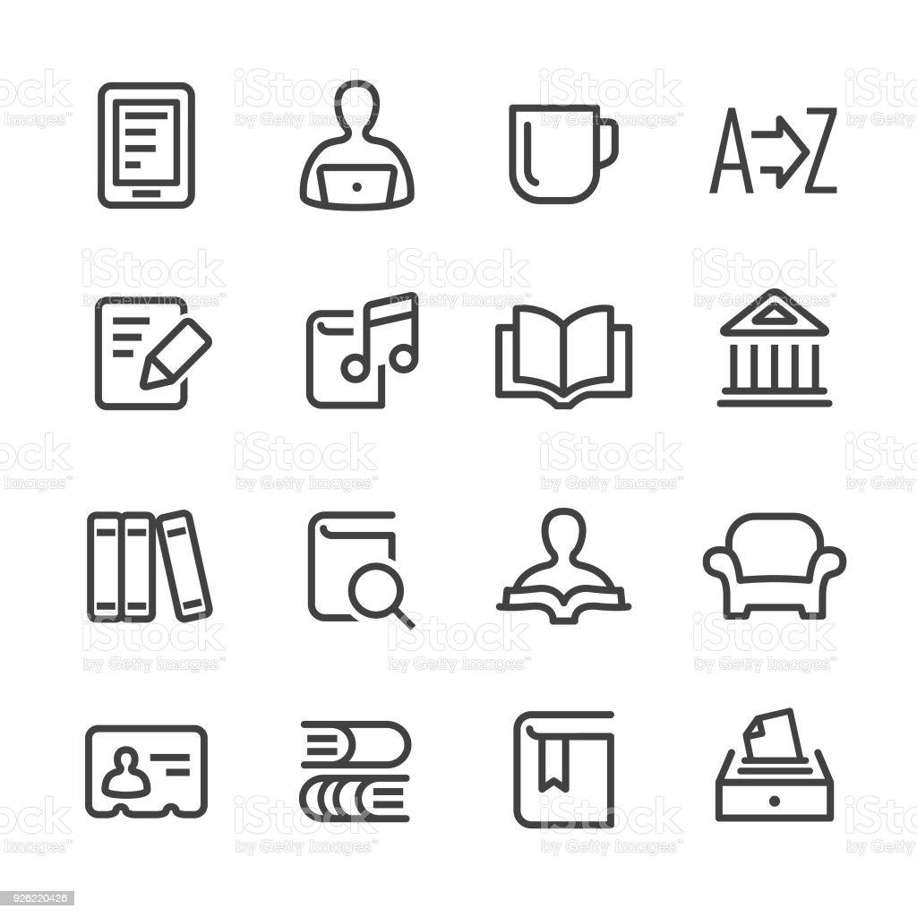 Biblioteca y libros iconos - serie - ilustración de arte vectorial