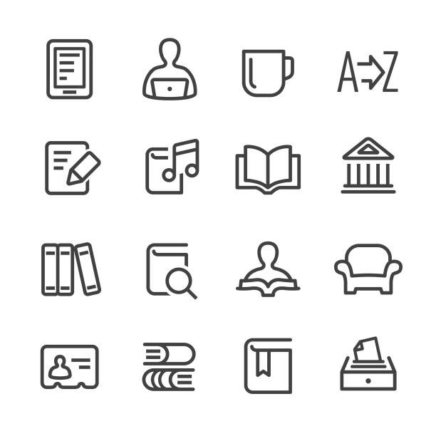 Library and books Icons - Line Series Library, books, reading, armchair stock illustrations