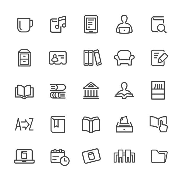 Library and books Icons - Smart Line Series Library, books, book club stock illustrations