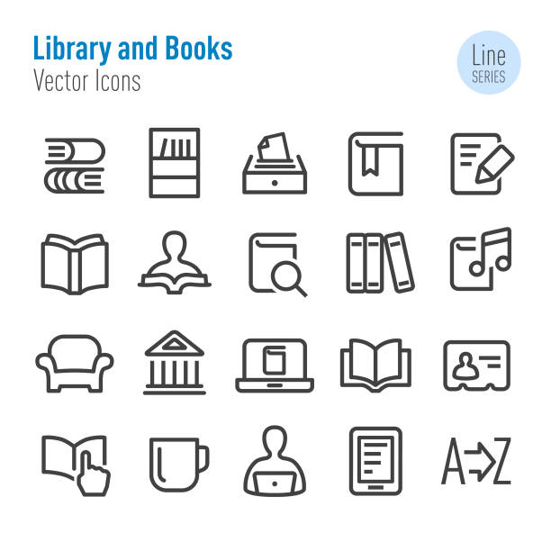 Library and books Icons - Vector Line Series Library, books, book club stock illustrations