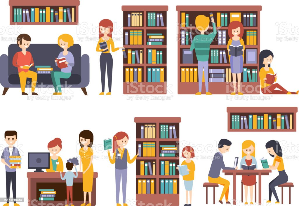 Library And Bookstore With People REading  Choosing Books - ilustración de arte vectorial