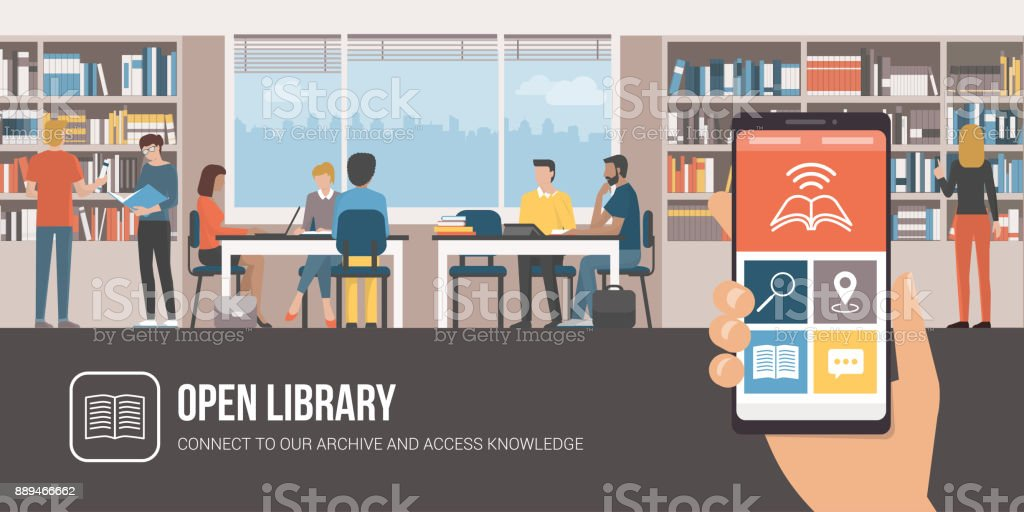 Library app and people studying together vector art illustration