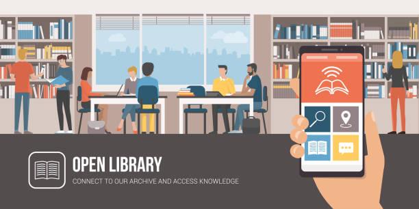 Biblioteca de la aplicación y estudiar juntos la gente - ilustración de arte vectorial