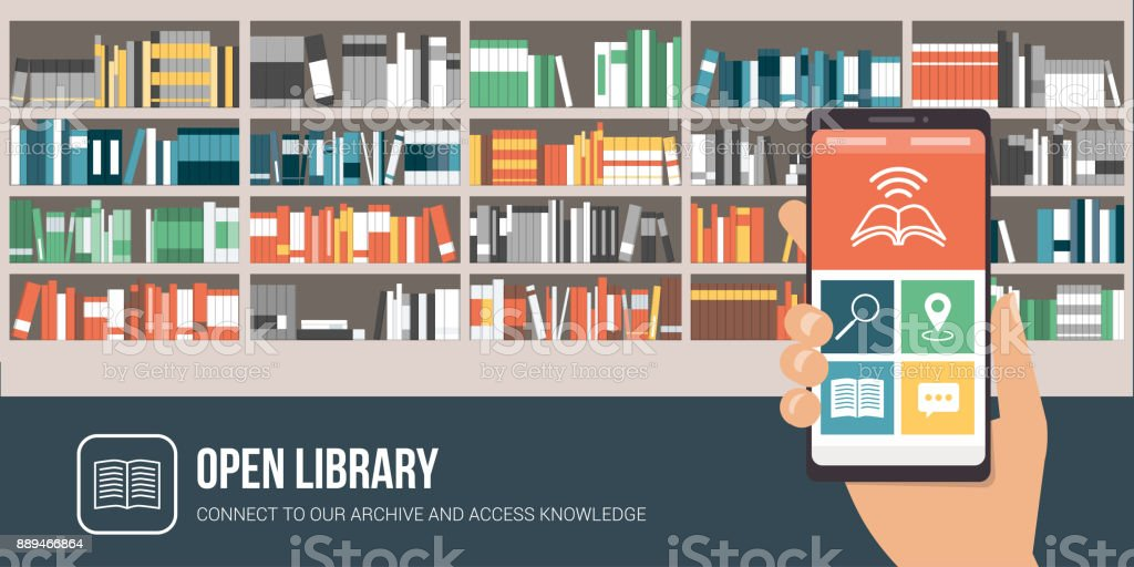 Biblioteca app em um smartphone - ilustração de arte em vetor