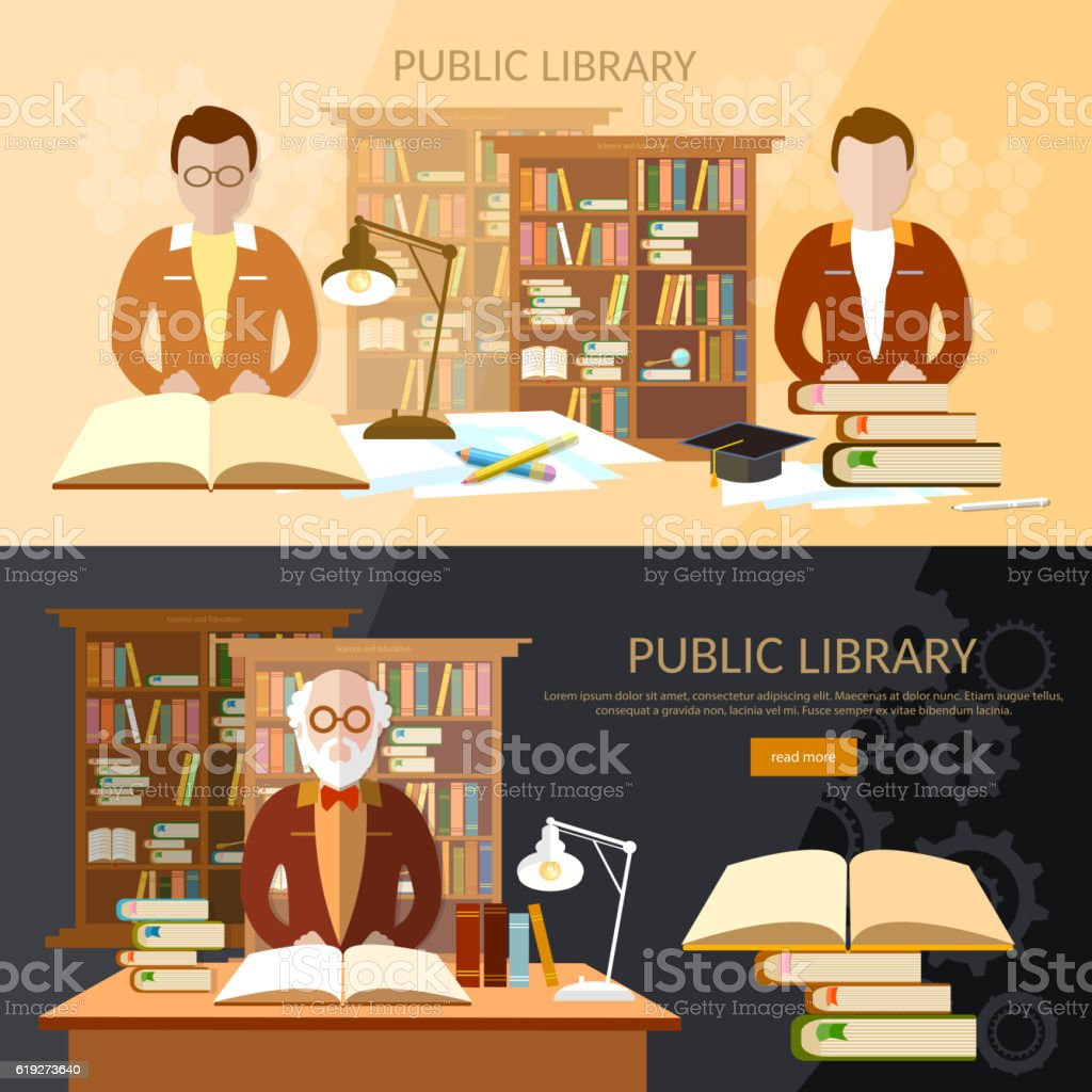 Library banners students read books professor librarian - ilustración de arte vectorial