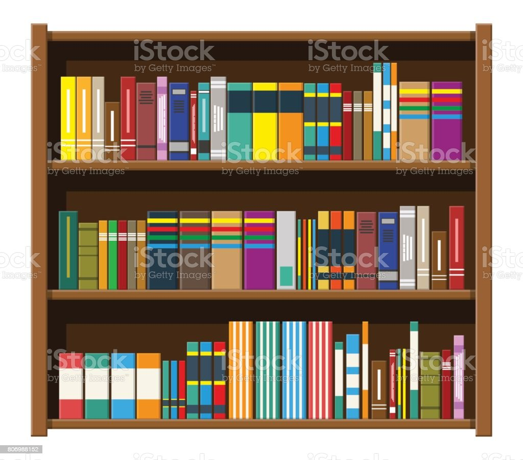 Bibliotheek Boek Plank Boekenkast Met Verschillende Boeken ...