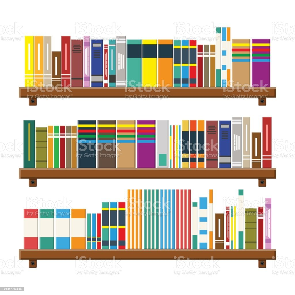 Library book shelf. Bookcase with different books. vector art illustration