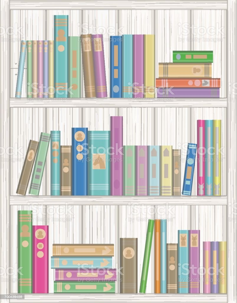 Library Books in book case made of white timber vector art illustration
