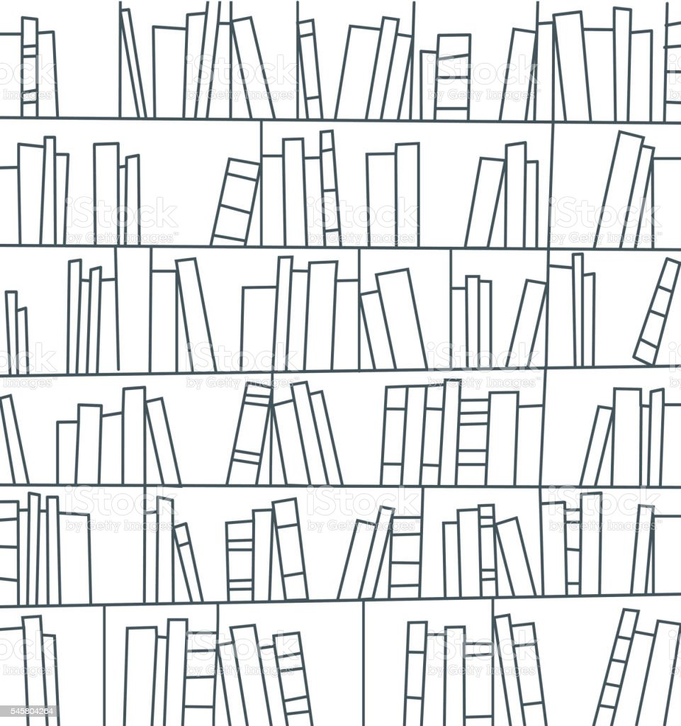 library, bookshelf vector art illustration