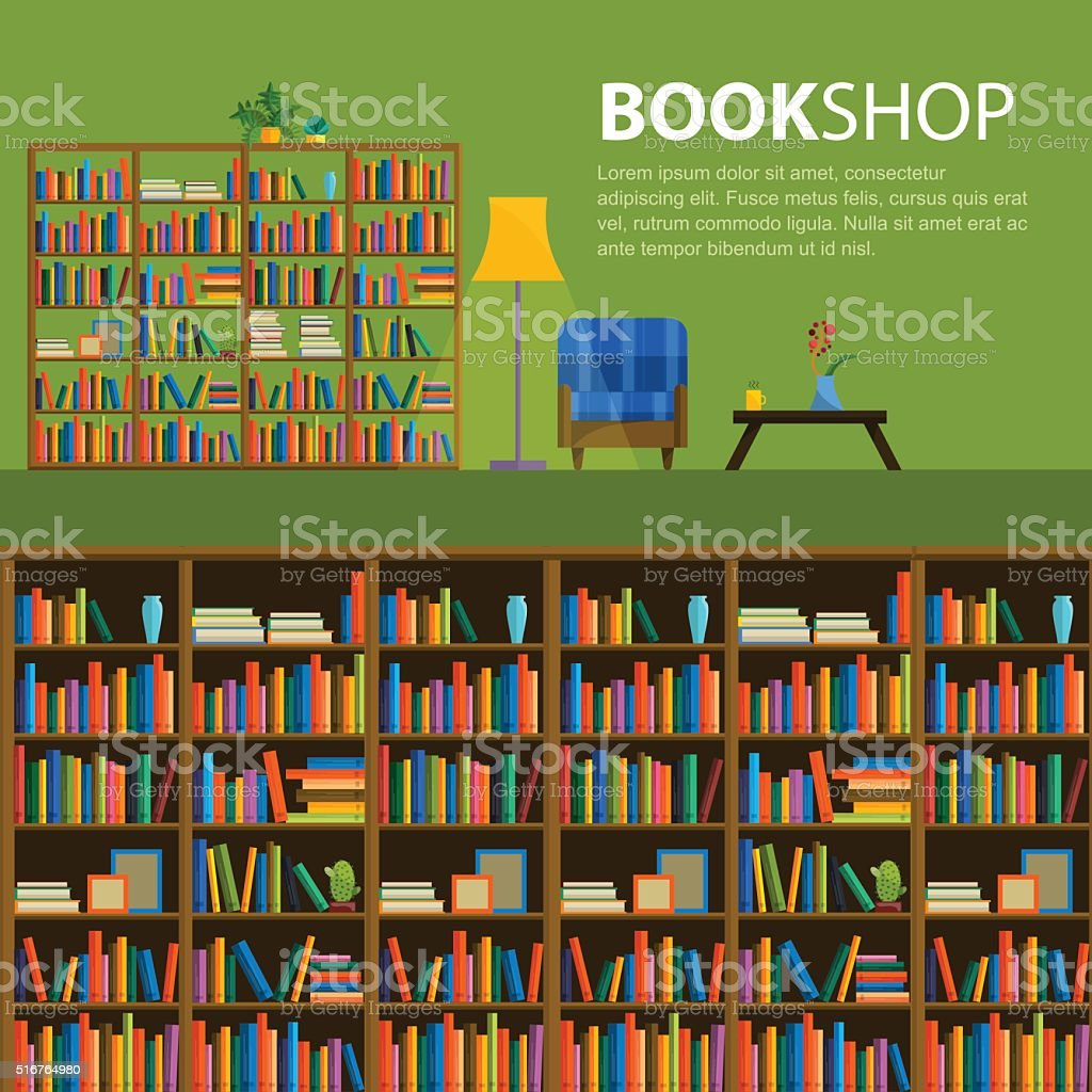 Library, bookstore - Seamless pattern with books on bookshelves. vector art illustration