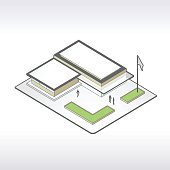 Illustration of a simple, modern library branch in isometric view.