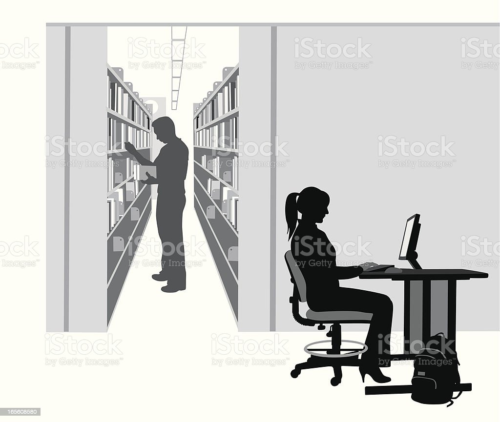 Library Computer Vector Silhouette royalty-free stock vector art