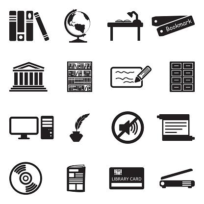 Library Icons. Black Flat Design. Vector Illustration.