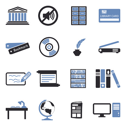 Library Icons. Two Tone Flat Design. Vector Illustration.